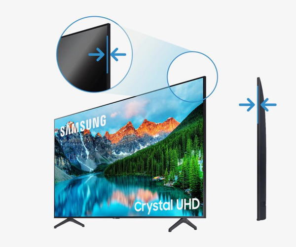 The sleek, elegant and minimalistic design of this Samsung UHD display draws you into the screen from any angle.