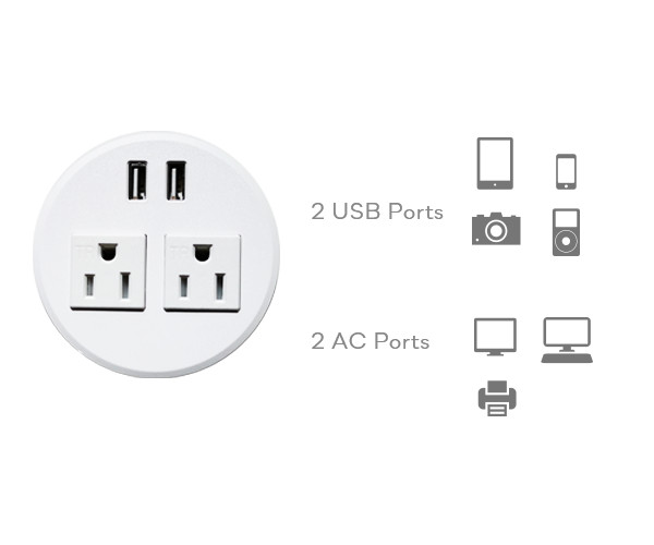 SOLOS power grommet's dual power sockets and USB ports allow users to charge four devices simultaneously